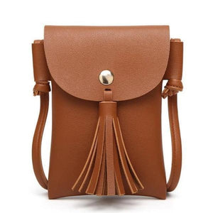 Brown leather crossbody phone bag with tassel