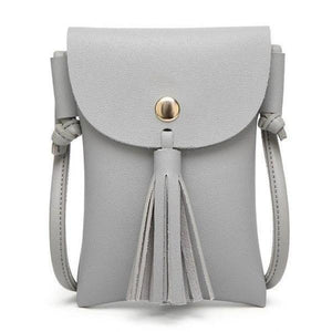 Gray leather crossbody phone bag with tassel