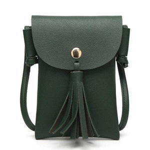 Green leather crossbody phone bag with tassel