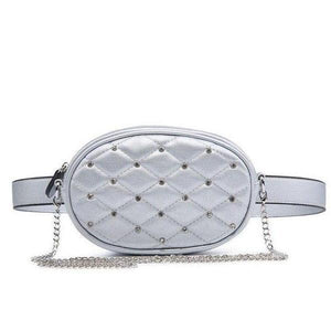 Silver leather fanny packs with crossbody chain strap