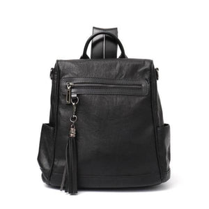 Black leather backpack shoulder bag