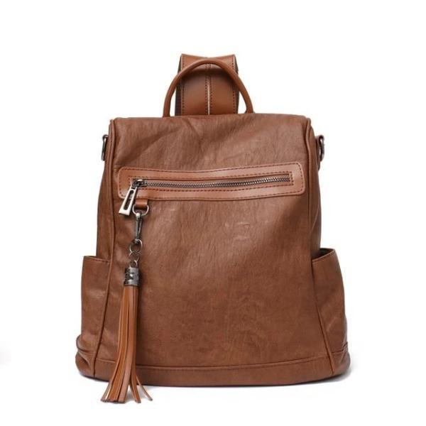 Brown leather backpack shoulder bag