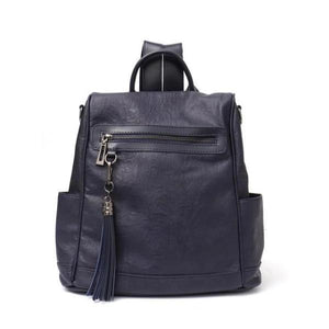 Blue leather backpack shoulder bag