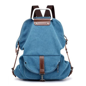 Blue Convertible canvas backpack messenger crossbody purse