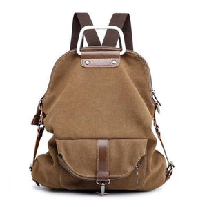 Brown Convertible canvas backpack messenger crossbody purse