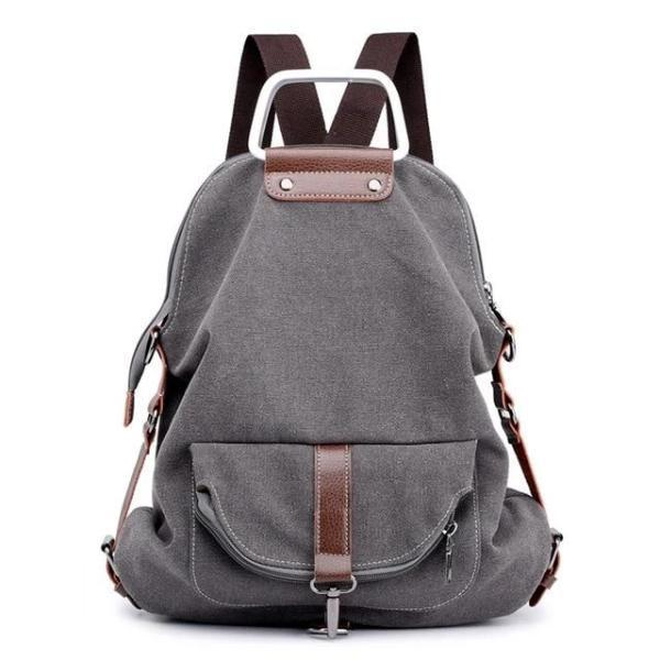 grey Convertible canvas backpack messenger crossbody purse