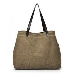 Large canvas tote bags triple compartment bag brown
