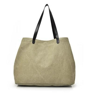 Large canvas tote bags triple compartment bag khaki
