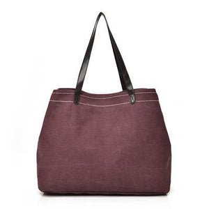 Large canvas tote bags triple compartment bag wine red