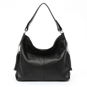 Black leather crossbody bag large hobo purse