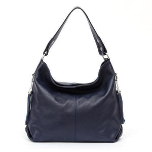 Navy blue leather crossbody bag large hobo purse