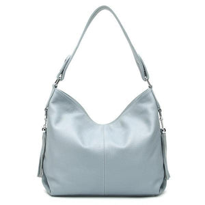 Linen blue leather crossbody bag large hobo purse