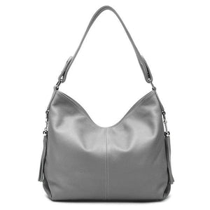 Gray leather crossbody bag large hobo purse