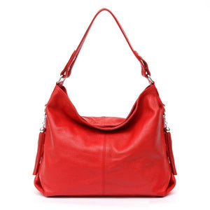 Red leather crossbody bag large hobo purse
