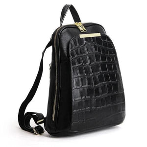 leather backpack with wide opening
