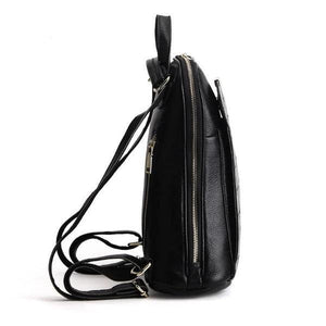 Leather backpack for women with wide opening