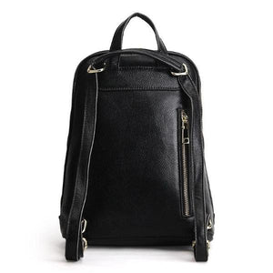 Leather backpack with convertible strap