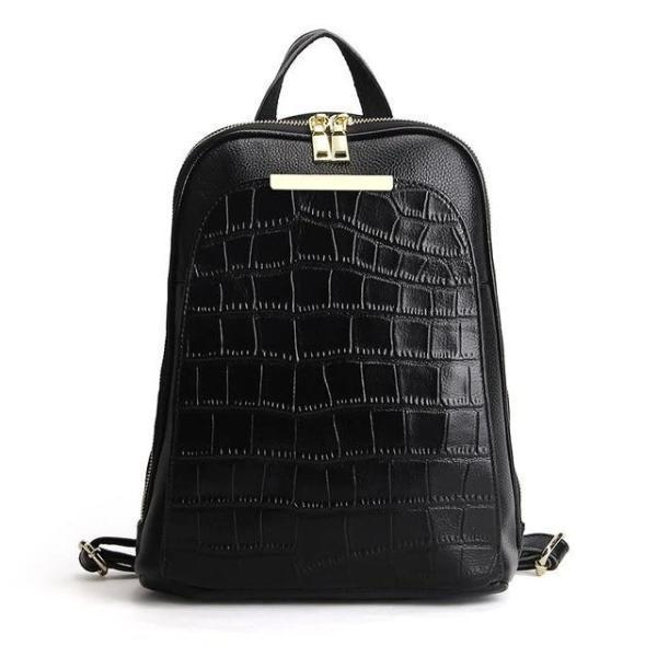 Black alligator leather backpack with convertible strap