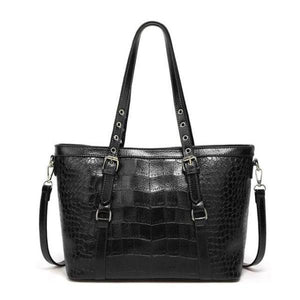 Black tote bag with faux crocodile leather