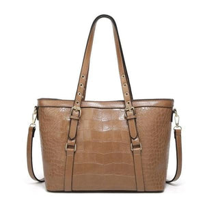 Khaki tote bag with faux crocodile leather