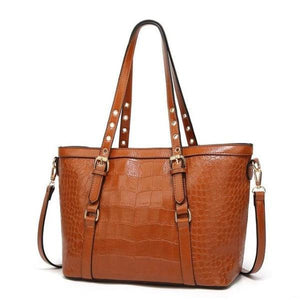 Brown tote bag with faux crocodile leather