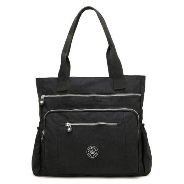 Black waterproof tote bag with zipper