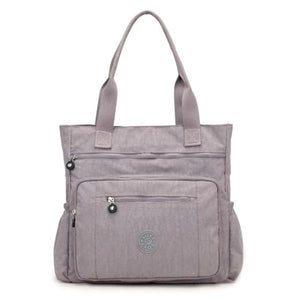 Gray waterproof tote bag with zipper