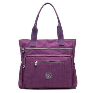Purple waterproof tote bag with zipper