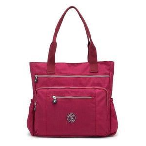Burgundy waterproof tote bag with zipper
