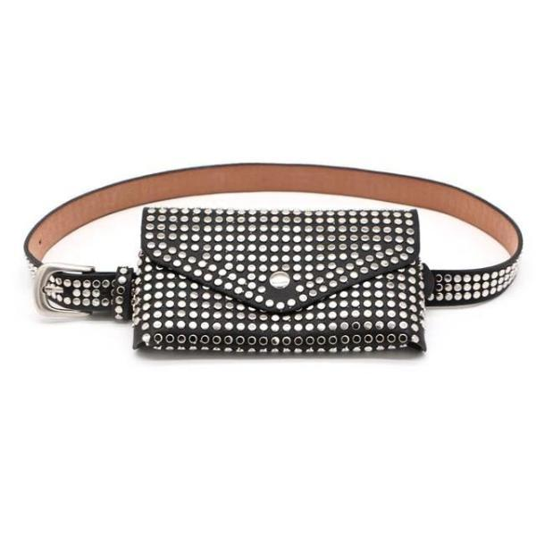black fanny pack with studs punk