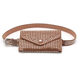 Brown fanny pack with studs punk style
