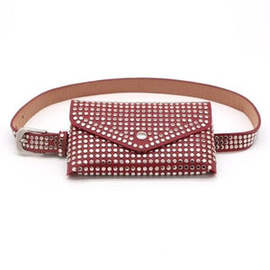 Red fanny pack with studs punk style