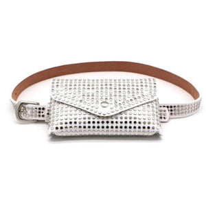 White fanny pack with studs punk style