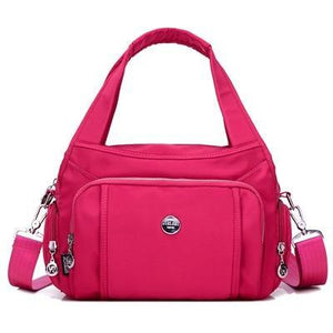 Pink crossbody nylon shoulder bag