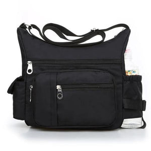 Black crossbody bag with water bottle holder