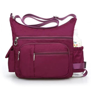 Purple Crossbody bag with water bottle holder