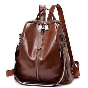 Brown convertible vegan leather backpack purse