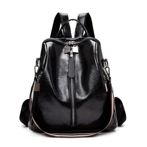 Black vegan leather backpack purse with shoulder strap