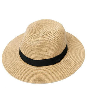 Khaki women adjustable panama straw hat