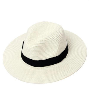 White women adjustable panama straw hat