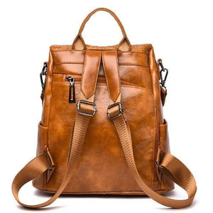 anti theft brown leather backpack