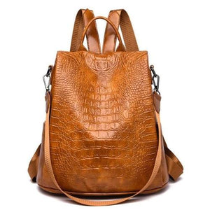 faux leather alligator backpack purse brown