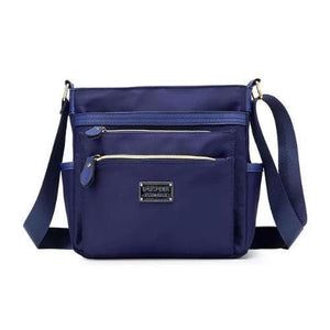 Blue nylon crossbody purse women