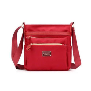 Red nylon crossbody purse women