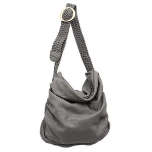 Gray vegan crossbody bag with woven leather strap