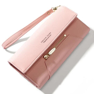 pink cute leather wallet for women
