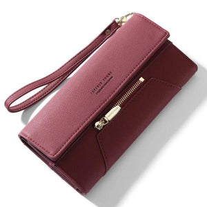 Burgundy cute leather wallet for women