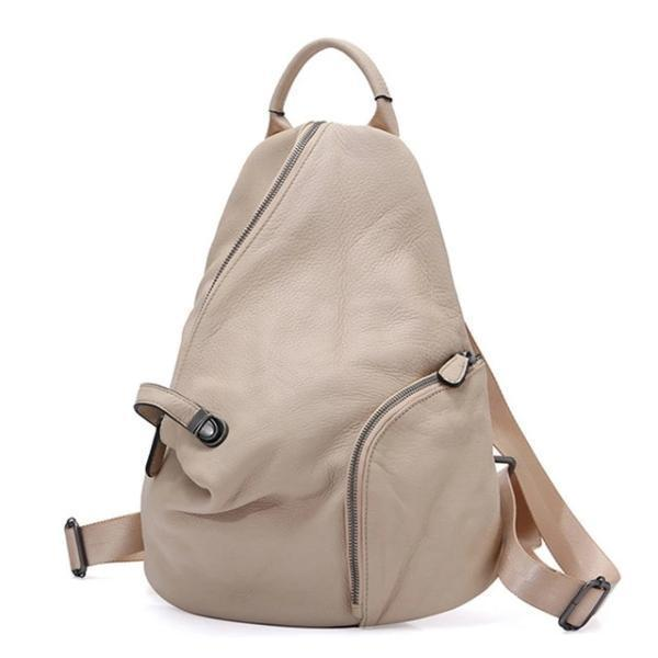 Gray genuine leather backpack