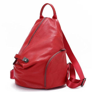 Red genuine leather backpack