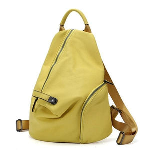 Yellow genuine leather backpack